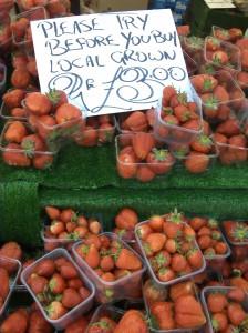fresh strawberries from a farm around the corner